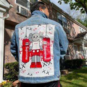 Hand-painted Kaws X - Supreme denim jacket