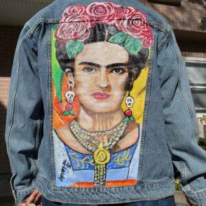 Frida Kahlo Hand-Painted Denim Jacket #5