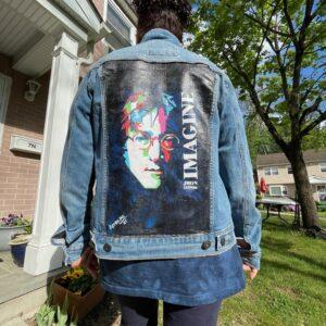John Lennon - Imagine Hand-Painted Denim Jacket #2
